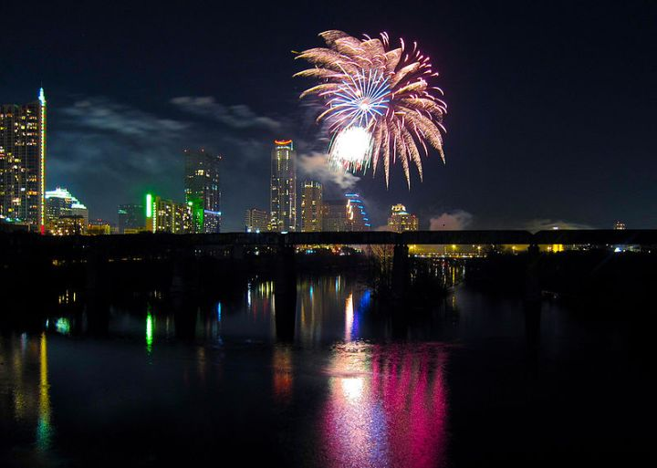 Fireworks in Austin, Texas, 2012